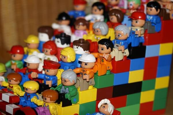 Lego people and wall